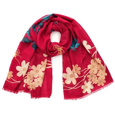 Романтический шарфик Flowers красный