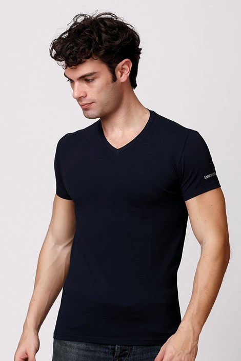 Мужская итальянская футболка Enrico Coveri ET1501 Blue хлопковая