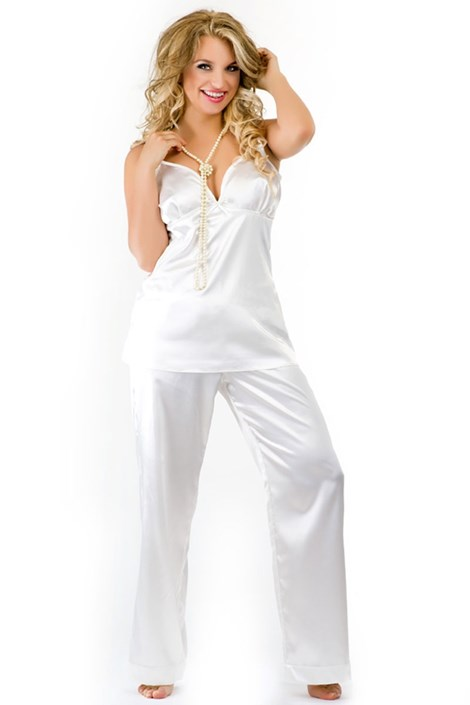 Роскошная атласная пижама Haiti Ecru