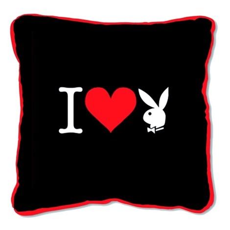 Подушка Square I Heart Bunny black