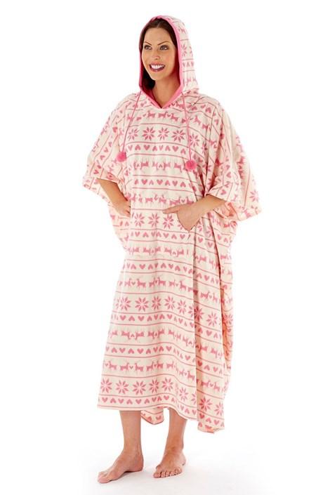 Женский халат-пончо Hearty Winter Pink