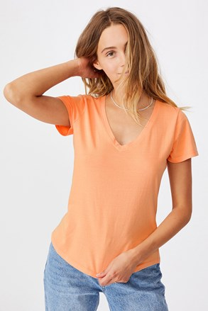 Жіноча базова футболка з короткими рукавами One apricot