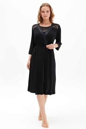 Жіночий чорний халат Black Pearl