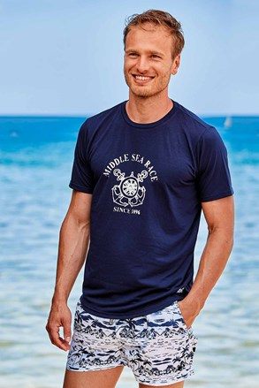Темно-синя футболка David 52 Palm tree