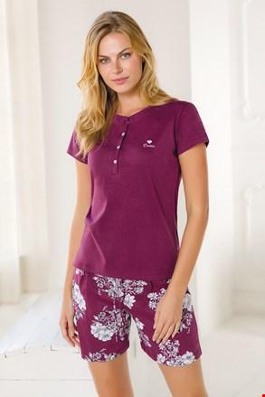 Жіночий короткий піжамний комплект вишневий