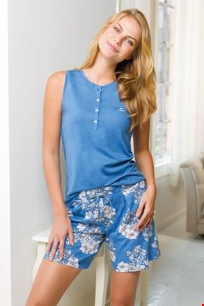 Жіночий короткий піжамний комплект синій