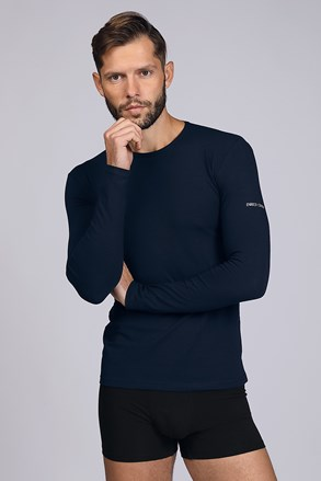 Темносиня футболка з довгим рукавом