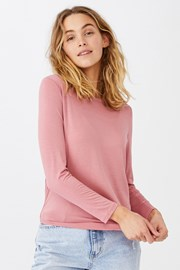 Жіноча базова футболка з довгими рукавами Kathleen рожева