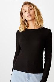 Жіноча базова футболка з довгими рукавами Turn чорна