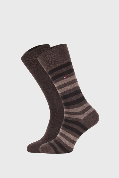 2 ПАРИ бежево-коричневих шкарпеток Tommy Hilfiger Duo Stripe