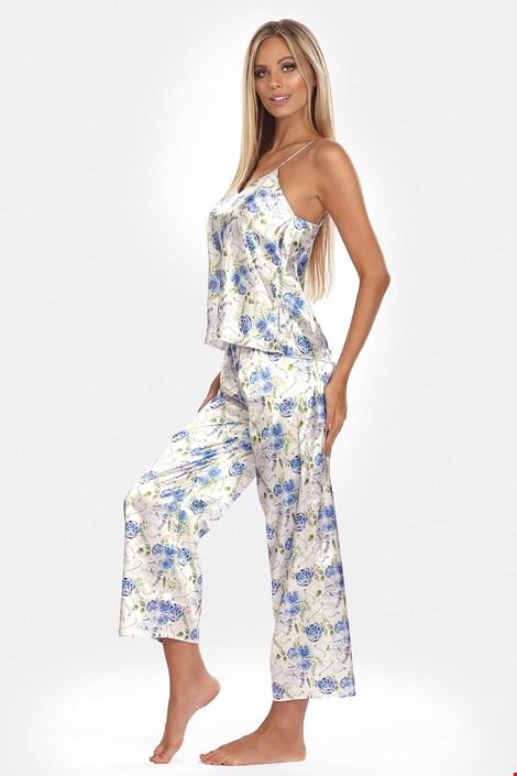 Довгий атласний комплект Flowers синій